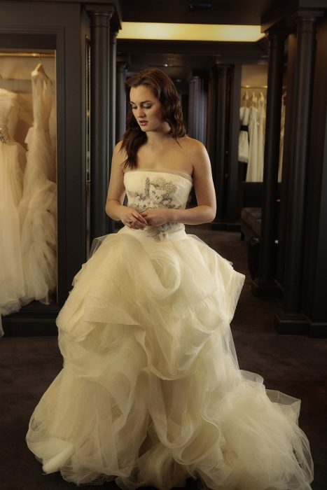 Blair Waldorf usando un vestido de novia de Vera Wang