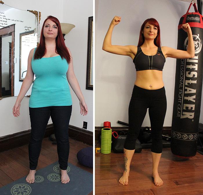 mujer antes y después de bajar de peso