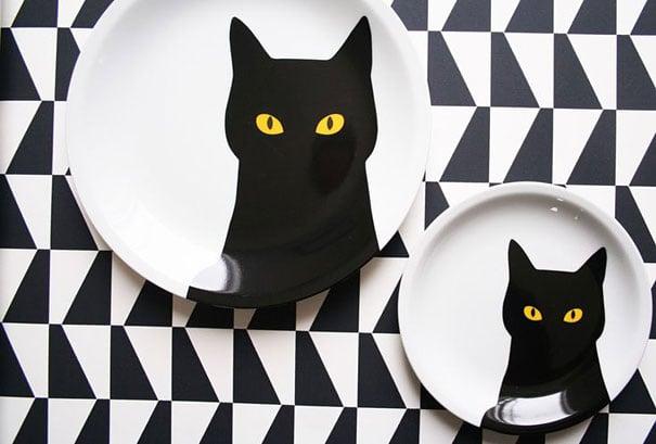 platos con dibujo de gato