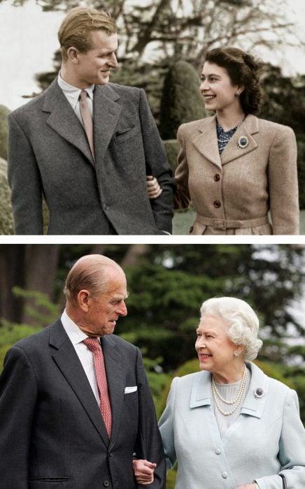 reina Isabel y Rey Felipe de jóvenes y viejos