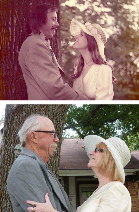 pareja antes y después de 40 años
