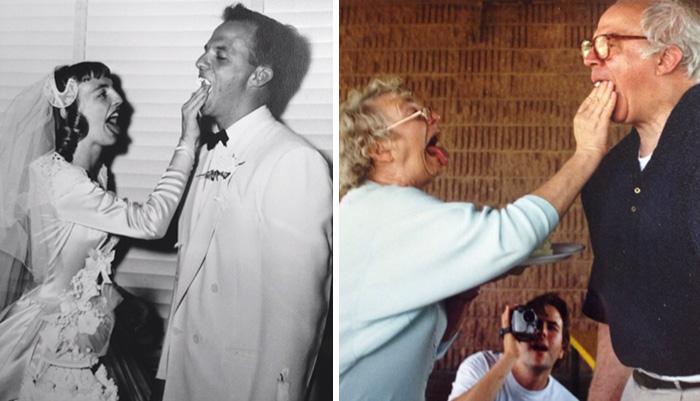 pareja de abuelos antes y después
