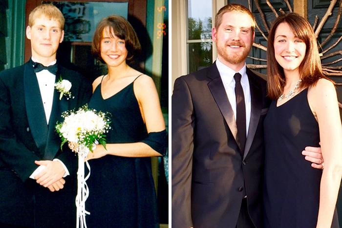 Pareja antes y después de 20 años