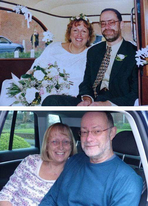 pareja antes y después de 15 años