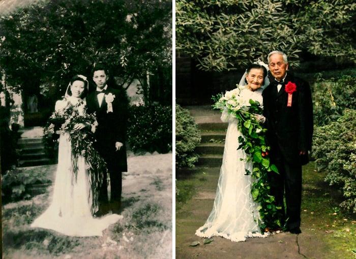 pareja dia de su boda y 70 años después