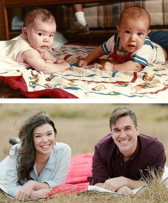 pareja desde bebés y adultos