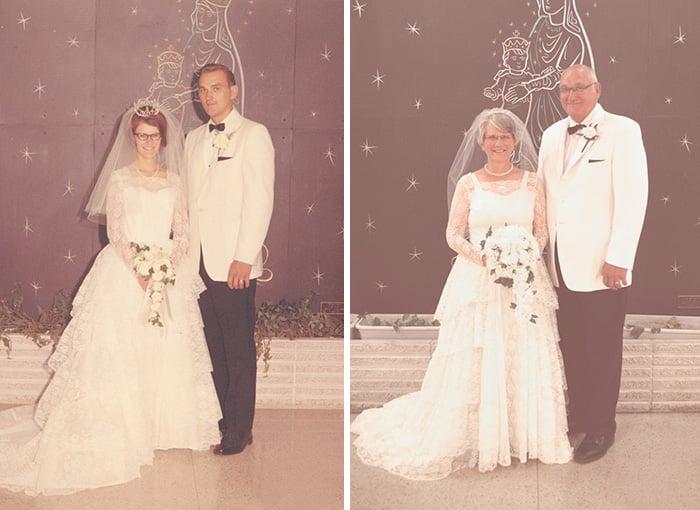 pareja antes y 45 años después