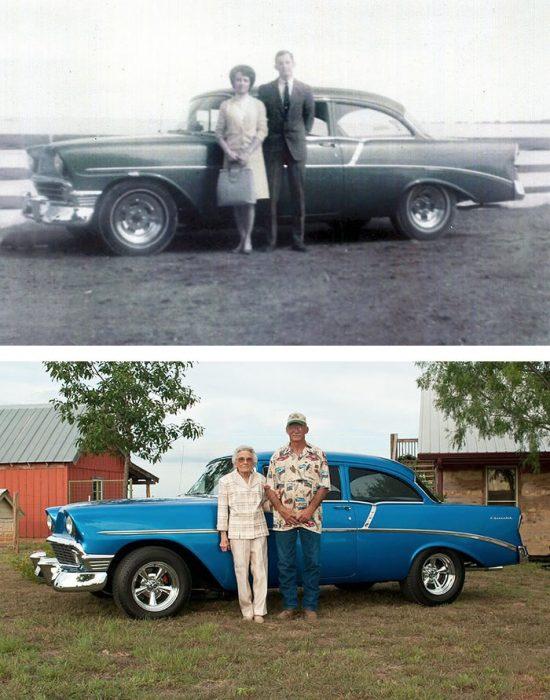 pareja retratada con su coche antiguo