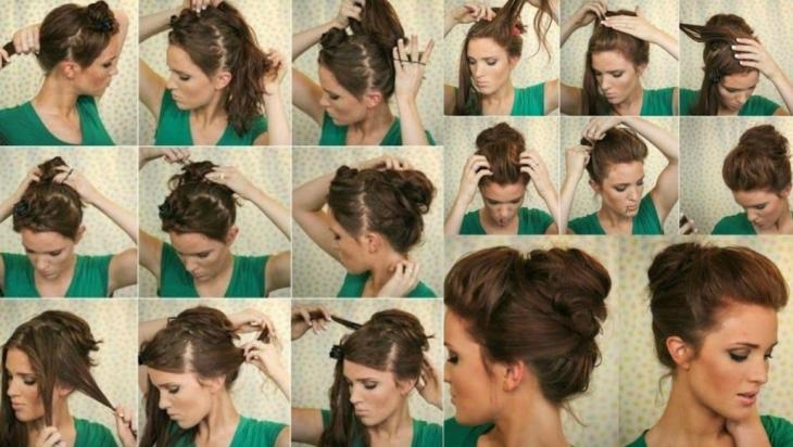 tutorial peinados mujer cabello castaño chongo