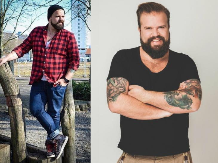hombre talla grande modelo hombre rubio barba grande y tatuajes