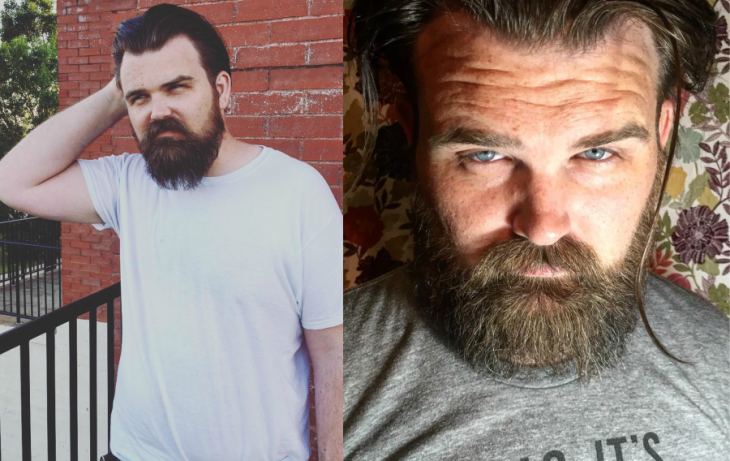 hombre talla grande modelo rubio con barba