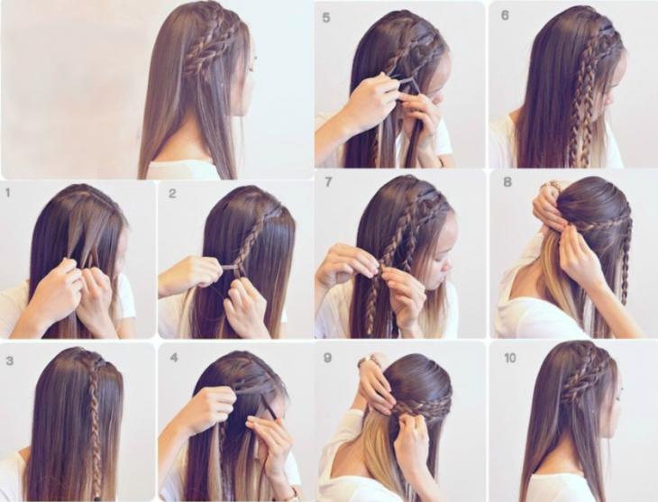 mujer cabello castaño tutorial peinados