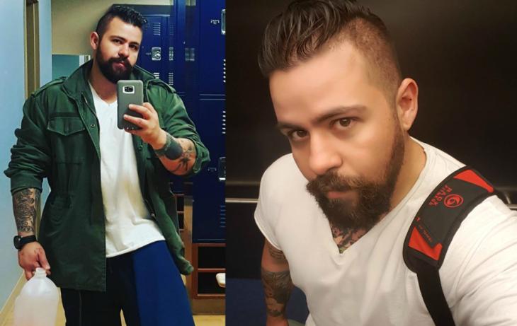hombre talla grande frente al espejo y barba