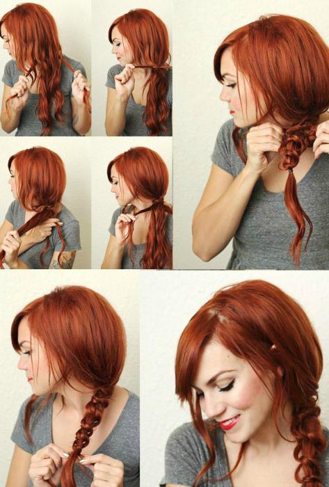 tutorial peinados mujer cabello pelirrojo trenza
