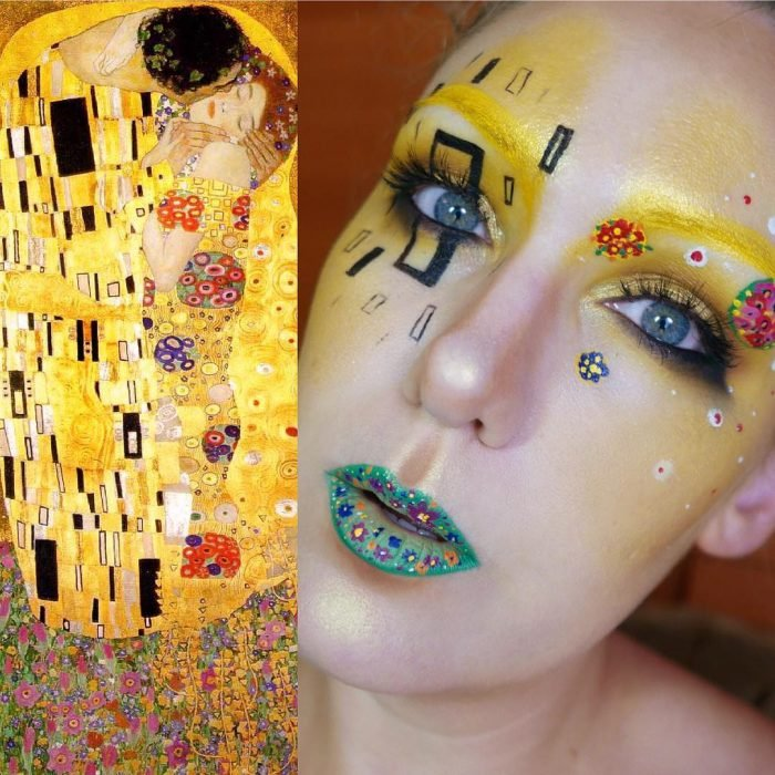 maquillista como cuadro de Gustav Klimt