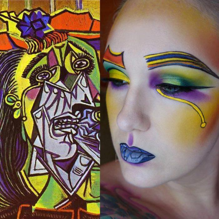 maquillista como cuadro de Picasso