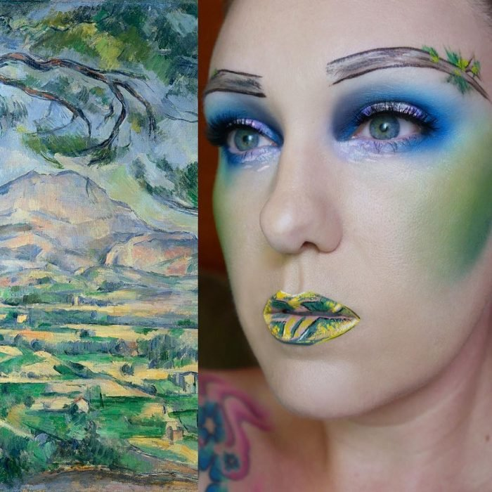 maquillista como cuadro de Cezanne