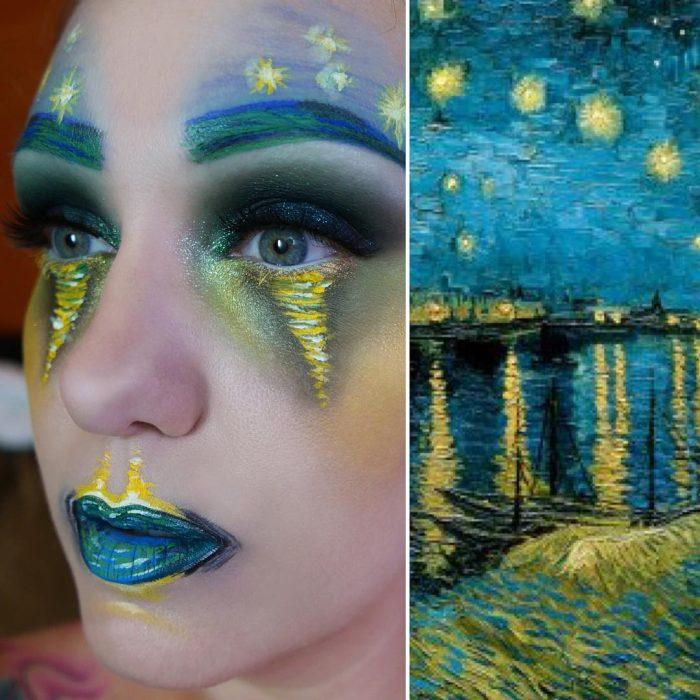 maquillista como cuadro de Van Gogh