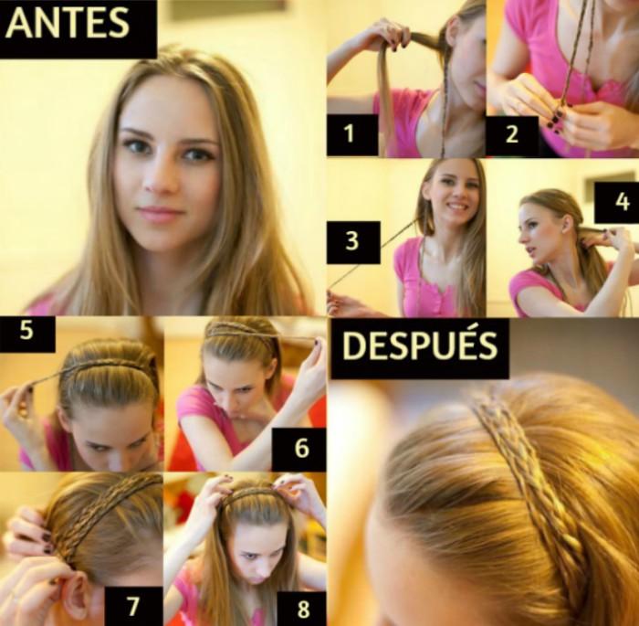 tutorial peinados mujer rubia diadema de trenza