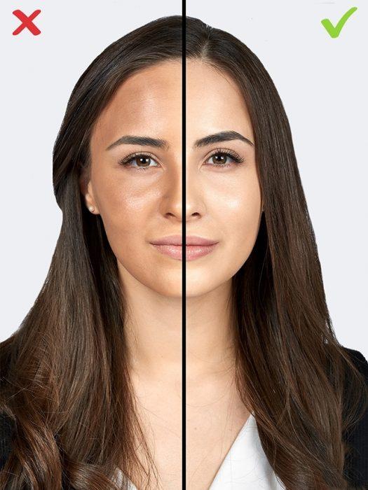 mujer cabello largo y saco negro con exceso de maquillaje