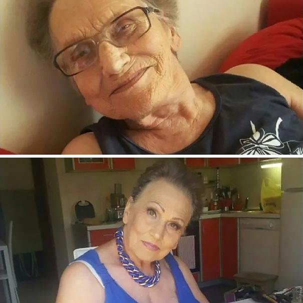 Abuela de 80 años antes y después de ser maquillada