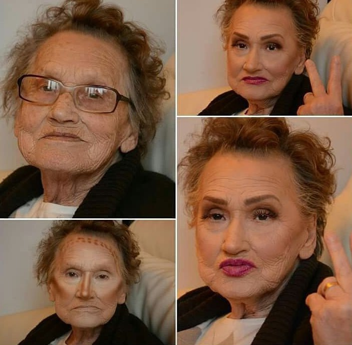Abuela de 8o años mostrando el antes y después de ser maquillada