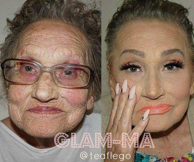 Abuela de 80 años antes y después de su maquillaje