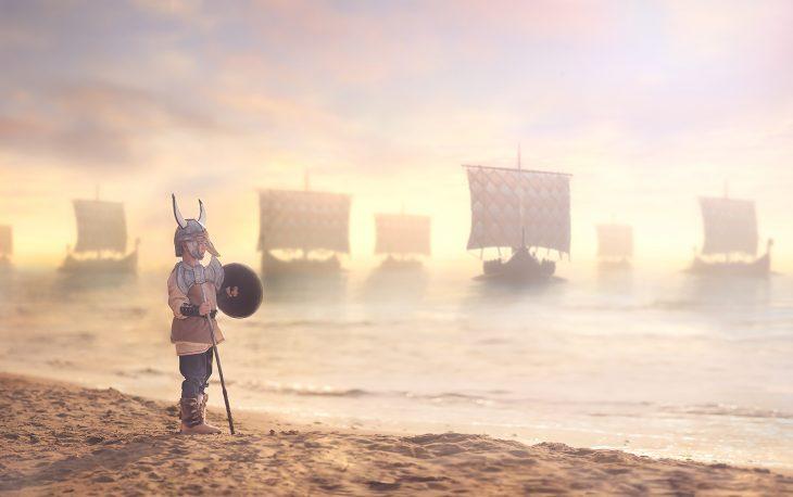 Bebé disfrazado de Vikingo