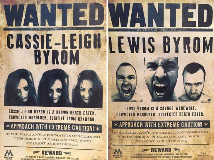 Pareja de novios en carteles de búsqueda del ministerio de magia del mundo de Harry Potter