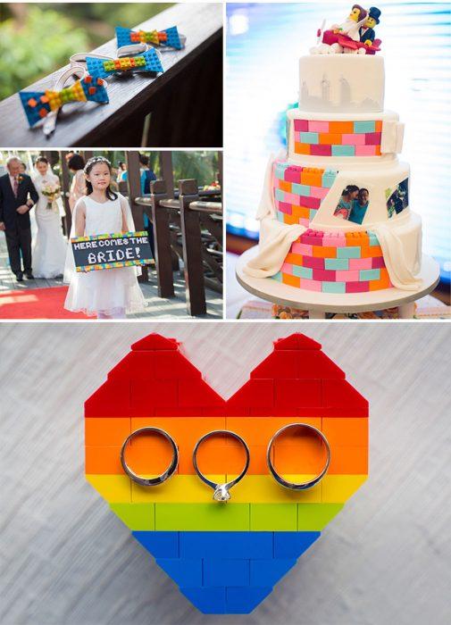 Elementos para boda de legos