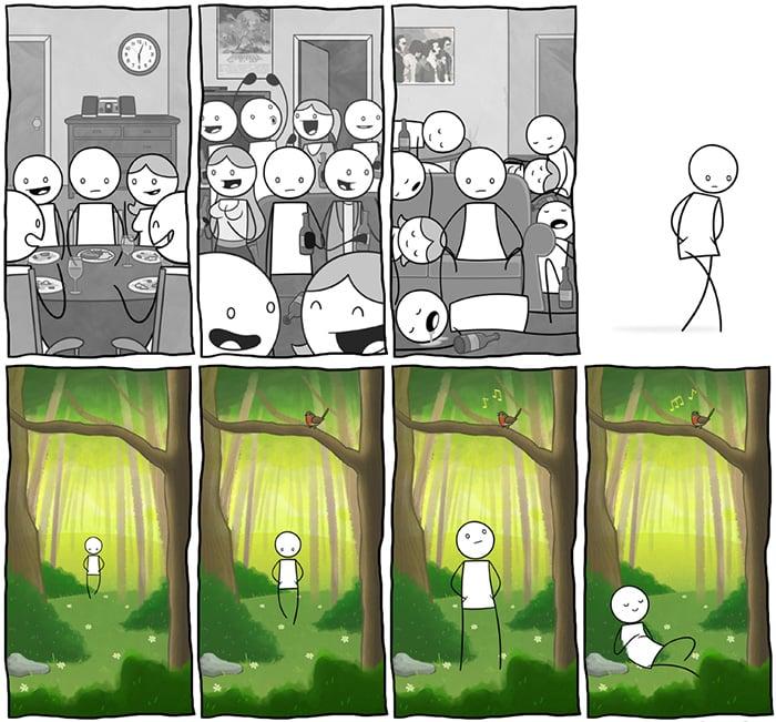 Ilustración lugar perfecto para introvertidos