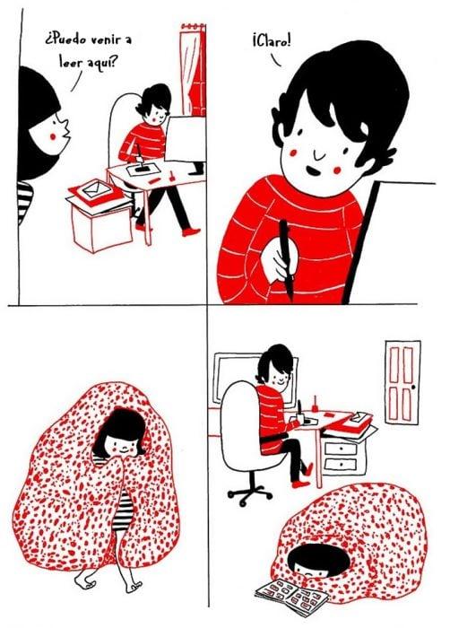 Ilustración pareja perfecta de introvertidos
