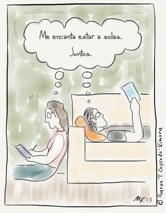 Ilustración pareja de introvertidos