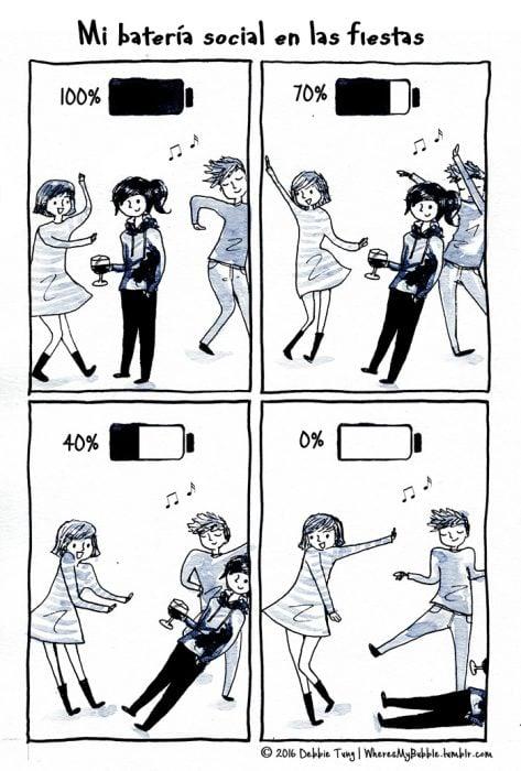 Ilustración introvertidos en una fiesta