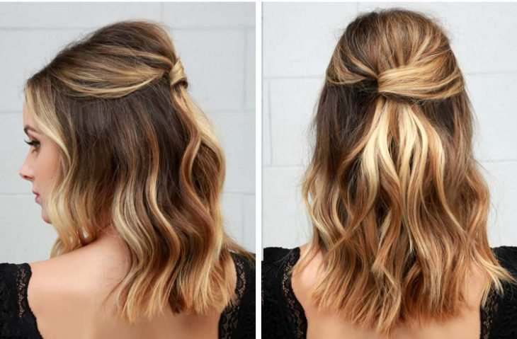 Chica con el cabello teñido en tono cinnamon roll en un corte long bob