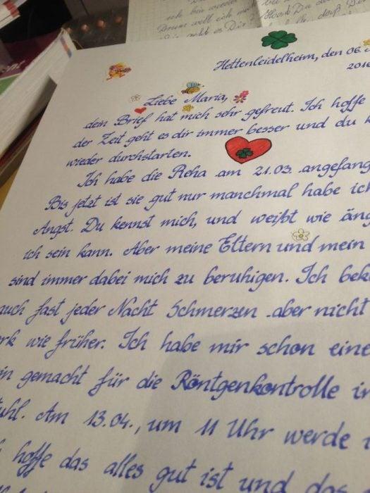 Carta escrita con letra perfecta