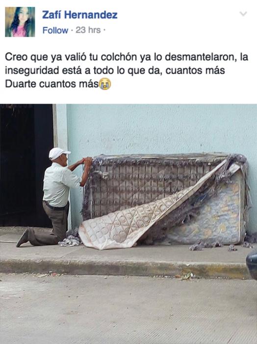 Meme del colchón que fue robado en xalapa circulando por Facebook