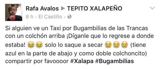 Publicación de un chico que perdió su colchón en Xalapa