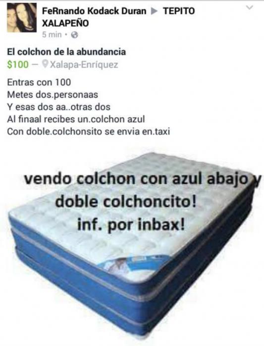 colchón que fue robado en xalapa circulando por Facebook