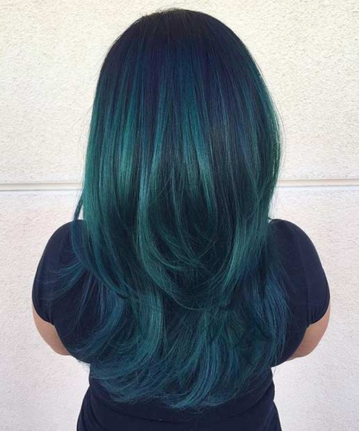 black hair with teal underneath