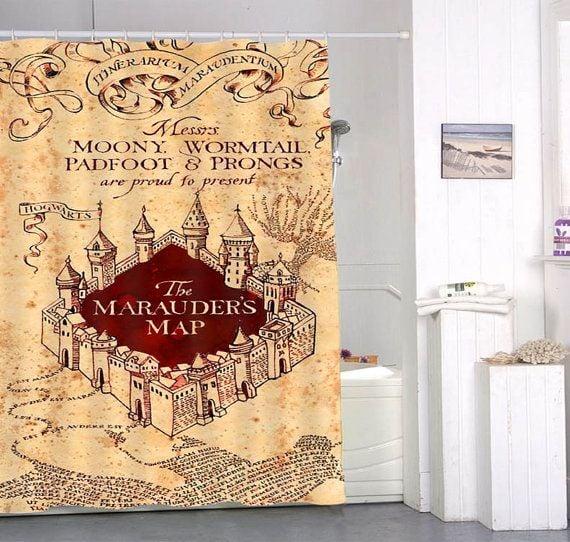 Cortina de baño con el mapa de los medoreadores de harry potter