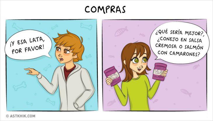 Comic que muestra las diferencias de vivir con un perro y con un gato cuando compras sus alimentos