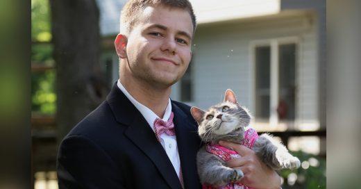 Este chico decidió llevar a su gato al baile de graduación