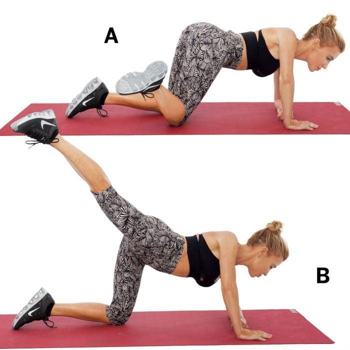 Chica levantando la rodilla para hacer ejercicios para abdominales