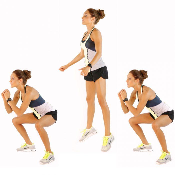 Chica realizando paso a paso sentadillas con saltos para las abdominales