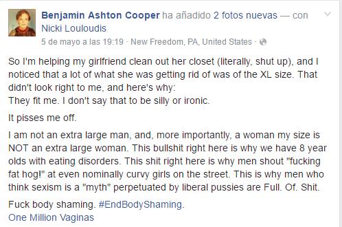 Mensaje escrito en facebook para mencionar los problemas que existen con las tallas de ropa de las mujeres
