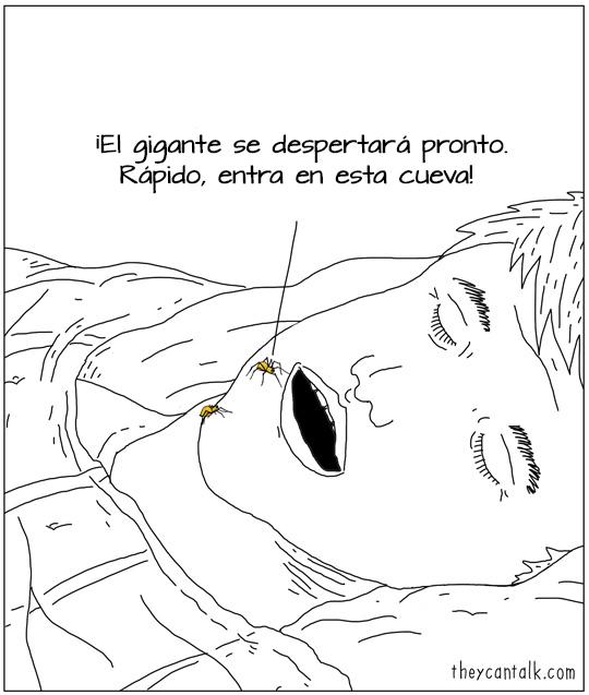 Ilustración de arañas entrando en la boca de un humano