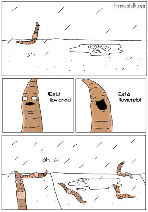 Ilustración de lombrices bailando en la lluvia