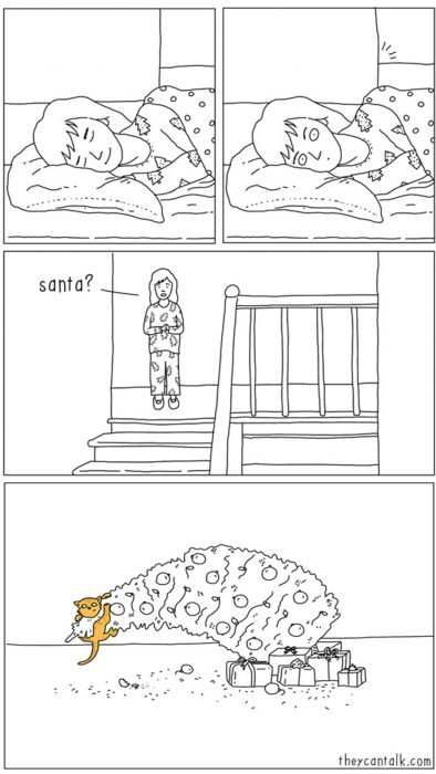 Ilustraciones de animales. Gato moviendo el árbol de navidad