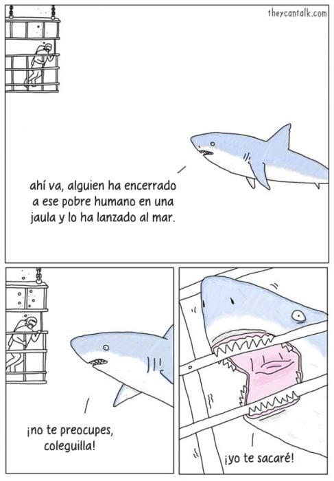 Ilustración de un tiburón intentando comerse a un humano